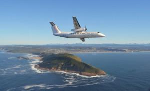 CemAir Bombardier Dash 8 Q300 over Robberg, Plettenberg Bay