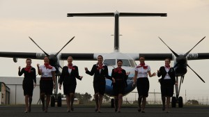 CemAir Bombardier Dash 8 100 and Cabin Crew team. CemAir leases aircraft and operates an airline