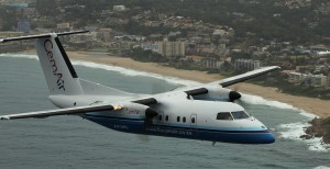CemAir Bombardier Dash 8 100 over Margate. CemAir leases aircraft and operates an airline
