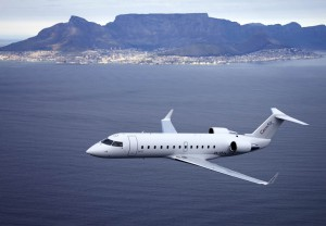 CemAir Bombardier CRJ over Cape Town. CemAir leases aircraft and operates an airline