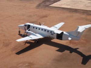 CemAir Beechcraft Leased 1900C at Thar Jath, South Sudan. CemAir leases aircraft and operates an airline