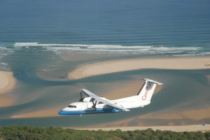 CemAir Bombardier Dash 8 100 over Plettenberg Bay. CemAir leases aircraft and operates an airline