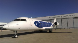 CemAir Bombardier CRJ at Cape Town Airport in Flying Fish livery. CemAir leases aircraft and operates an airline
