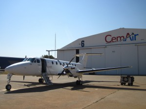CemAir Beechcraft 1900C at OR Tambo International Airport. CemAir leases aircraft and operates an airline