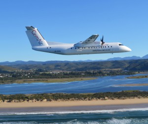 CemAir Bombardier Dash 8 Q300 over Keurbooms, Plettenberg Bay. CemAir leases aircraft and operates an airline